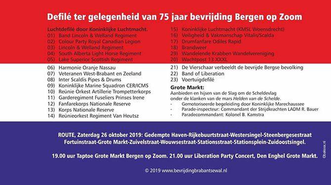 Programma defilé bevrijding Bergen op Zoom